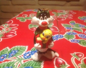Vintage Sylvester and Tweety hand painted ceramic ornament- Looney Tunes Collection
