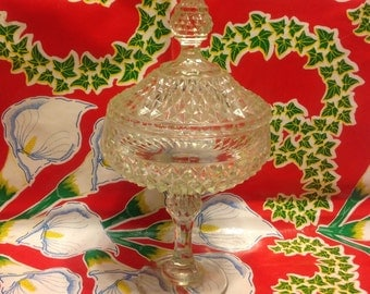 Vintage cut glass diamond point tall covered candy dish or compote