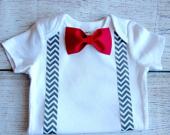 Baby Boy Clothes - Baby Bow Tie - Red Bow Tie and Suspenders Outfit - Grey Chevron - First Birthday Boy Outfit - First Valentines Day Outfit
