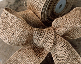 "2"" Wired Natural Burlap Ribbon- 10 Yard"
