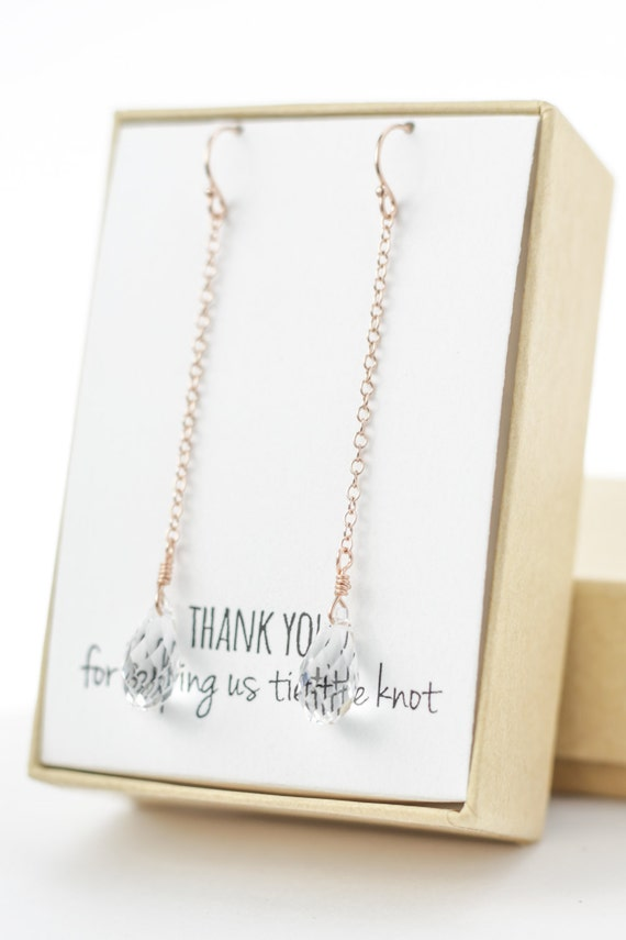 clear rose gold swarovski crystal drop earrings (long, small)