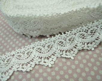 1Yard Vintage style Cotton Crochet Lace Trim Off White 4cm wide #303-1