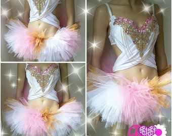 White, Pink, Gold, and Glam Design Custom Bra Costume Lingerie Rave Bra with Matching Tutu