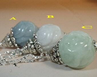 Jade Necklace - Jade Flower Necklace - Single Jade Necklace - Tiny Silver Necklace - Gift For Her - Gift For Mom