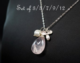 Bridesmaid Necklace Set - Bridesmaid Jewelry - Bridesmaid Gift - Sterling Silver Rose Quartz Necklace // Freshwater Pearl Orchid Flower