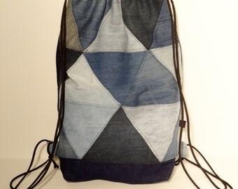 Denim patchwork sack bag  - free shipping to EU