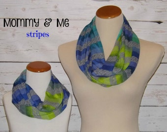 NEW!! Mommy & Me Multi Stripe Greens, Blues, Dk Heather Gray Sweater Knit Stripe Infinity Scarf Mother/Kid's Accessories