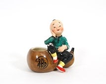 Vintage Japanese Boy with Gourd Planter Rosetti Chicago Occupied Japan Hand Painted Figurine, Oriental Boy