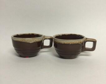 Vintage Brown Mugs, Vintage Pottery