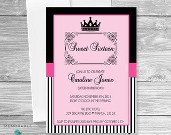 Sweet 16 Invitation - Diva Sweet Sixteen Invitation - Birthday Invitation - Pink and Black Birthday Invitation -  Sweet 16 Invitation