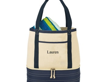 Personalized Coastal Cotton Insulated Tote - Canvas Tote - Insulated Tote - Cooler Tote - Gifts for Her -Gifts for Mom - GC1408