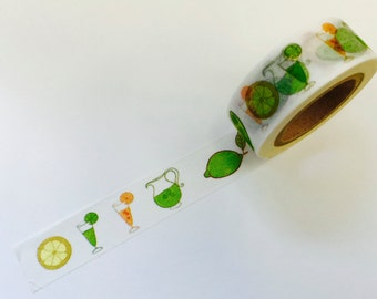 Lemon Lime Summer Drinks   Paper Washi Tape Scrapbooking Decorate Sticker - Fruit - Planner (780)