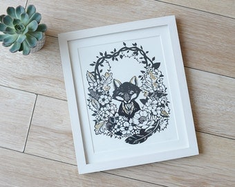 Fox hiding in shrubbery hand pulled screenprint with gold leaf- original papercut print