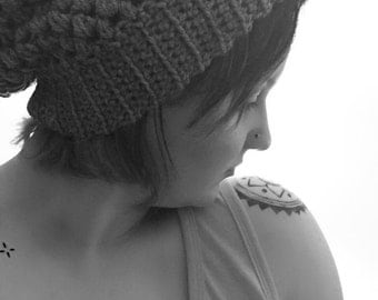 Custom Solid Color Puff Stitch Slouchy Beanie