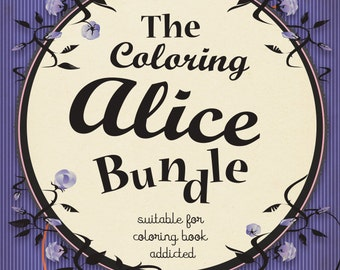 coloring book pdf lewis carroll alice in wonderland 5 different illustrations instant