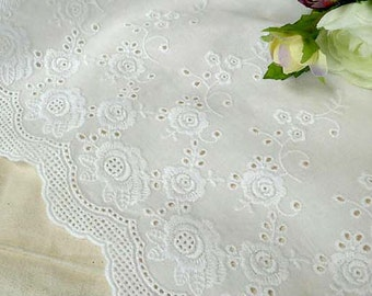 "1y Broderie Anglaise Embroidery cotton lace  White 23"" (58.5cm) yhRose laceking"