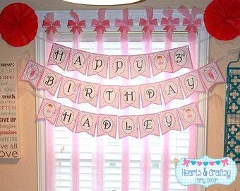 Ballet Happy Birthday Banner / Pink Dance Birthday Party / Girl Birthday - FILE to PRINT