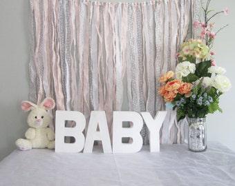 Ribbon Backdrop, Shabby Baby Shower Backdrop, Photobooth Backdrop, Pink,  Gray U0026 White
