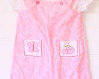 Vintage baby romper. Pink gingham romper, (no name) sz 3-6 mo