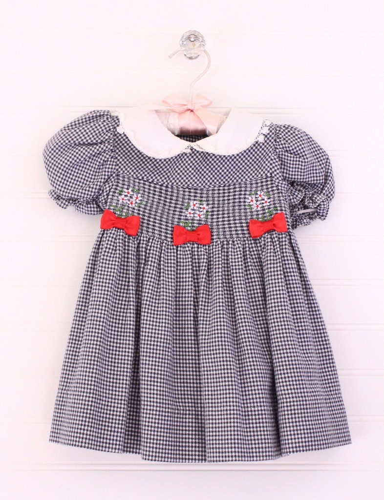 Vintage baby dress blue plaid dress with white collar and red