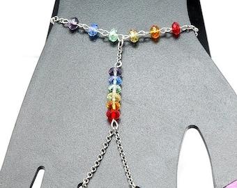 Rainbow Ring Bracelet,  Multicolor Slave Bracelet, Chain Bracelet with Ring Attached, Rainbow Pride Bracelet