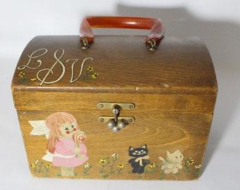 Vintage Decoupage Wood  Box Purse with Bakelite Handle Children Images