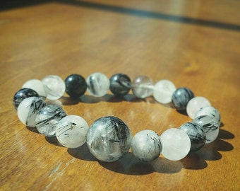 Black Tourmalated Quartz Crystal Bracelet