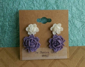 Two Pair-White and Purple Rose Earrings-Surgical Steel Backs-Item #150