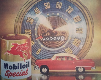 1956 Mobiloil Advertisement, great look and includes the Flying Red Horse Logo, great vintage ephemera.