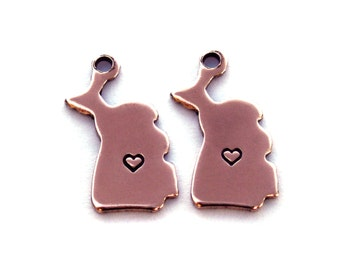2x Rose Gold Plated Michigan State Charms w/ Hearts - M132/H-MI