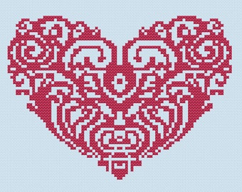 Heart Cross Stitch Pattern PDF