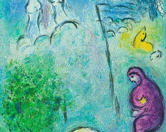 MARC CHAGALL - ''Dryas discovers Chloe' - vintage offset lithograph - c1977 (George Braziller, Germany)