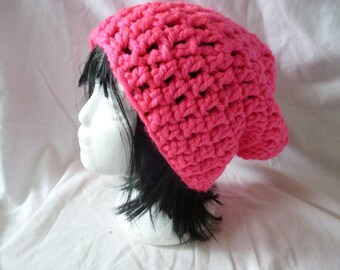 Slouch Hat Chunky Bright Pink Slouch Hat, skaters hat