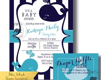 Blue Whale Baby Shower Invitation & Raffle Ticket