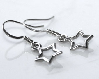 SALE, Silver Star Earrings, Star Charms, Xmas Star Earrings, Star Jewelry, Bohemian Earrings, Astronomy Gift, Dainty Jewellery, Silver Star