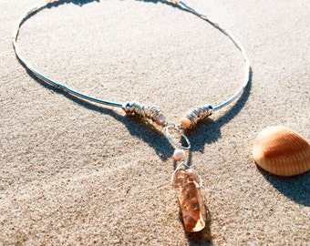 Shell and Amber Quartz necklace