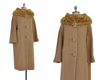Hickory Hills Coat • Vintage 1950s Wool Coat • Vintage Wool Coat • Fur Collar Coat • Vintage 1950s Brown Wool Coat with Fur Collar