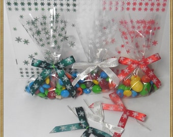 Snow flake 100pcs 4x6 cello bags for Christmas Party - 3 colors