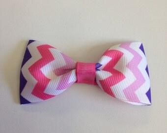 Pink & Purple Chevron Tuxedo Bow
