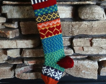 Christmas Stocking, Personalized Christmas Stocking, Knitted Christmas Stocking, Knit Christmas Stockings, Red Hearts, Blue Green Chevron