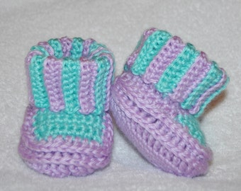 Crochet Cuffed Baby Booties Pattern : Cuffed baby booties Etsy