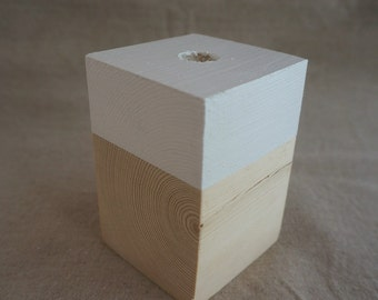 Candle holder in wood - collection oxzo