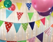 Multi coloured bunting in spots and stripes, 5 meters long, the perfect decoration to parties, bedrooms, circus themed events, garden event,