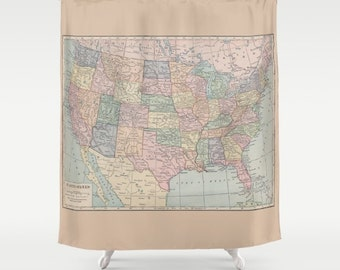Map Shower Curtain - United States Map - Home Decor - Bathroom - Learning, kids, travel, wanderlust , places, states, maps