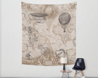Steampunk Tapestry - Ready to Ship -  Wall hanging - Steampunk design antique map print, One Available