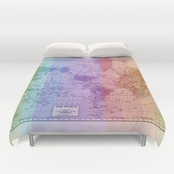 articles similaires chambre housse de couette carte lit de carte du monde arc en ciel. Black Bedroom Furniture Sets. Home Design Ideas