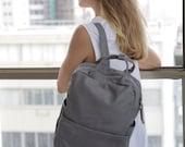 Light Grey Leather Backpack / Laptop Bag / Messenger Bag / Padded Mac Bag / Unisex Handbag - Kipi