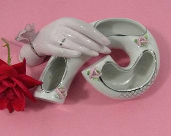 Vintage Mid Century Jewelry Dish Trinket Dish Porcelain Jewelry Storage