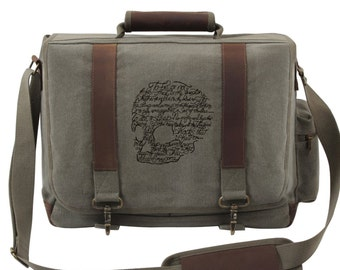 Shakespeare Skull Laptop Bag, To Be or Not to Be Skull Embroidered Canvas Messenger Bag, Canvas with Leather Accents Premium Laptop Bag