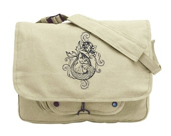 Toile Noir - Mermaid Embroidered Canvas Messenger Bag